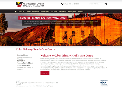 Cobar Primary Health Homepage Design