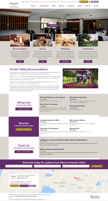 Mercure Hunter Valley Gardens Homepage design