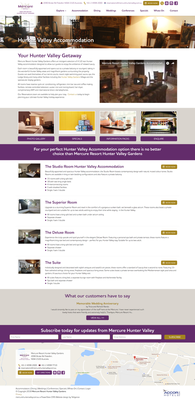 Mercure Resort Hunter Valley Gardens subpage design